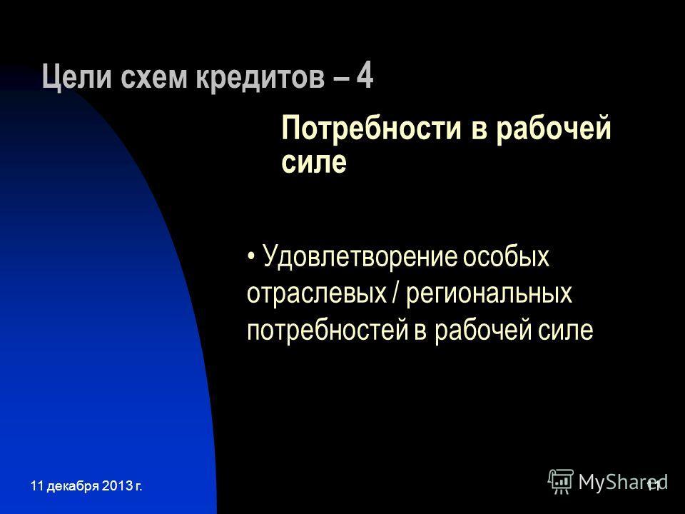 11 декабря 2013 г.11 Цели схем кредитов – 4 Потребности в рабочей силе Удовлетворение особых отраслевых / региональных потребностей в рабочей силе