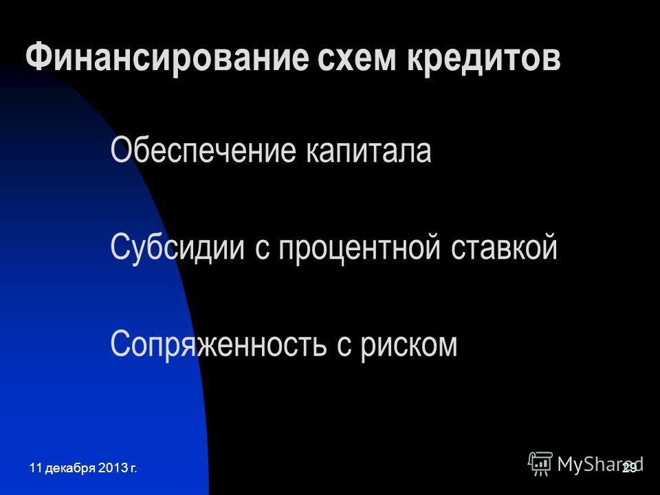 11 декабря 2013 г.29 Финансирование схем кредитов Обеспечение капитала Субсидии с процентной ставкой Сопряженность с риском