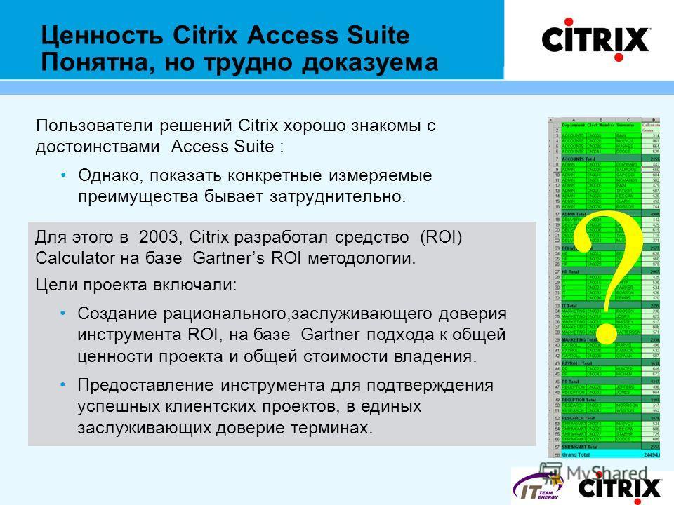 Ценность Citrix Access Suite Понятна, но трудно доказуема Пользователи решений Citrix хорошо знакомы с достоинствами Access Suite : Однако, показать конкретные измеряемые преимущества бывает затруднительно. Для этого в 2003, Citrix разработал средств