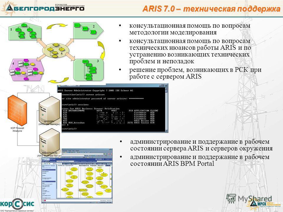 консультационная помощь по вопросам методологии моделирования консультационная помощь по вопросам технических нюансов работы ARIS и по устранению возникающих технических проблем и неполадок решение проблем, возникающих в РСК при работе с сервером ARI