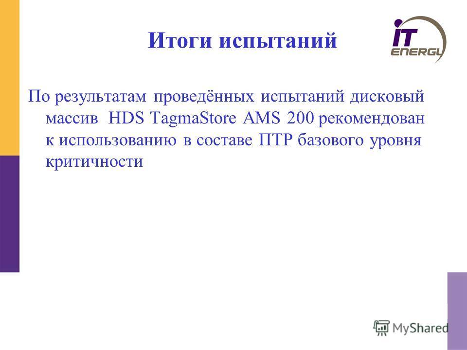 Итоги испытаний По результатам проведённых испытаний дисковый массив HDS TagmaStore AMS 200 рекомендован к использованию в составе ПТР базового уровня критичности