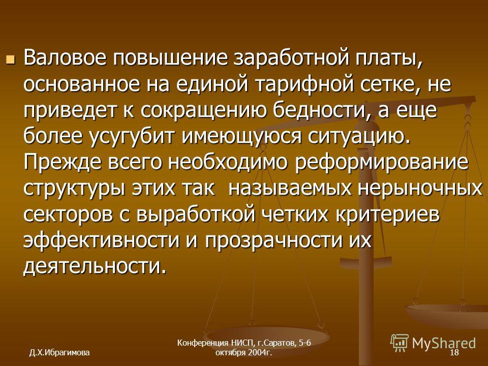 Д.Х.Ибрагимова Конференция НИСП, г.Саратов, 5-6 октября 2004г.18 Валовое повышение заработной платы, основанное на единой тарифной сетке, не приведет к сокращению бедности, а еще более усугубит имеющуюся ситуацию. Прежде всего необходимо реформирован