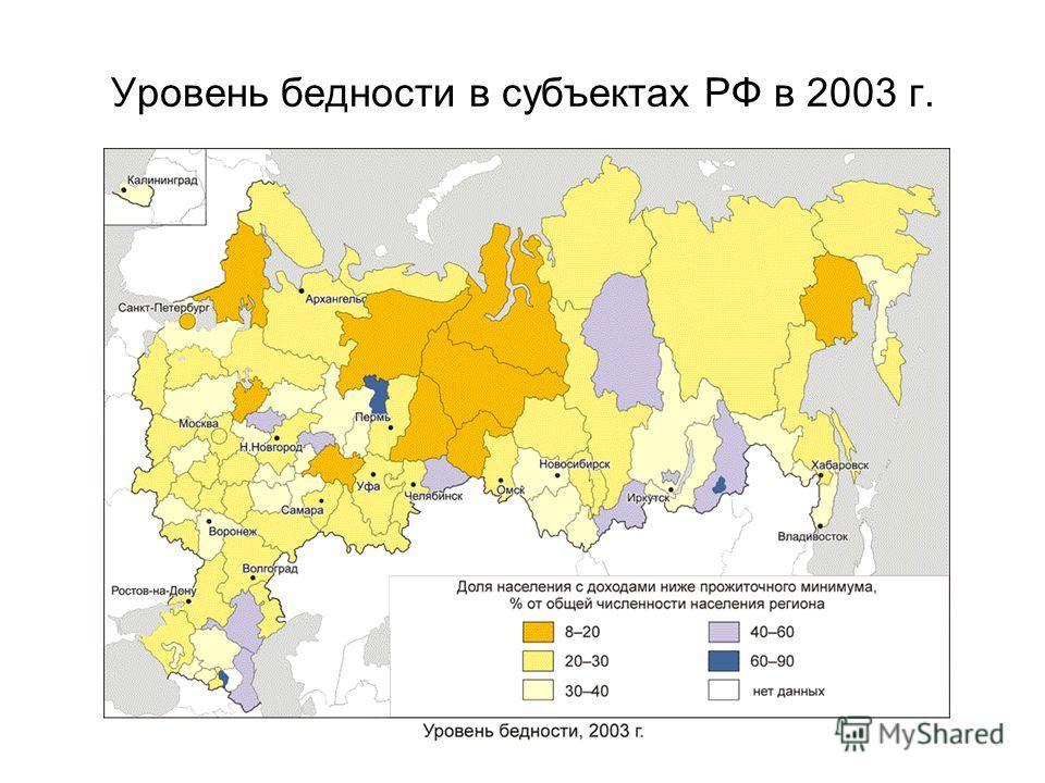 Уровень бедности в субъектах РФ в 2003 г.