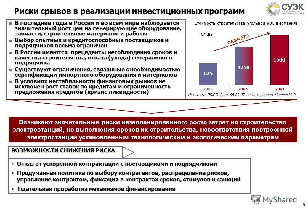 5 В последние годы в России и во всем мире наблюдается значительный рост цен на генерирующее оборудование, запчасти, строительные материалы и работы В последние годы в России и во всем мире наблюдается значительный рост цен на генерирующее оборудован
