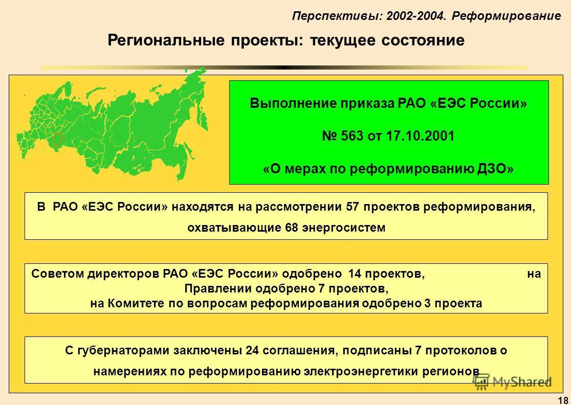 18 5 6 7 8 0 2 3 6 7 9 Региональные проекты: текущее состояние Выполнение приказа РАО «ЕЭС России» 563 от 17.10.2001 «О мерах по реформированию ДЗО» В РАО «ЕЭС России» находятся на рассмотрении 57 проектов реформирования, охватывающие 68 энергосистем