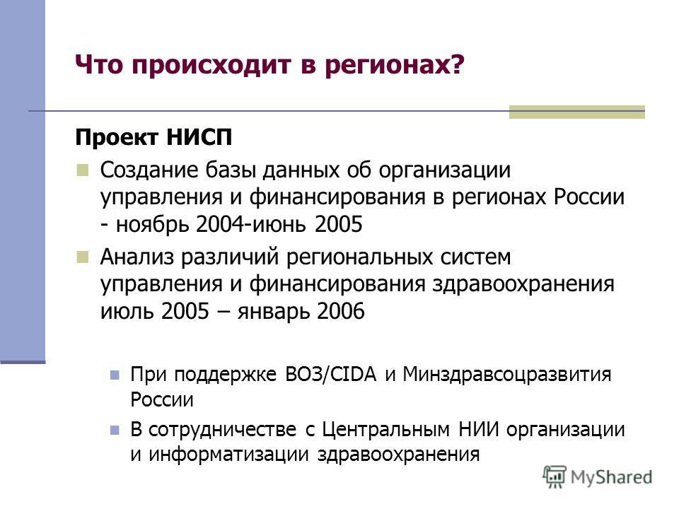 Что происходит в регионах? Проект НИСП Создание базы данных об организации управления и финансирования в регионах России - ноябрь 2004-июнь 2005 Анализ различий региональных систем управления и финансирования здравоохранения июль 2005 – январь 2006 П