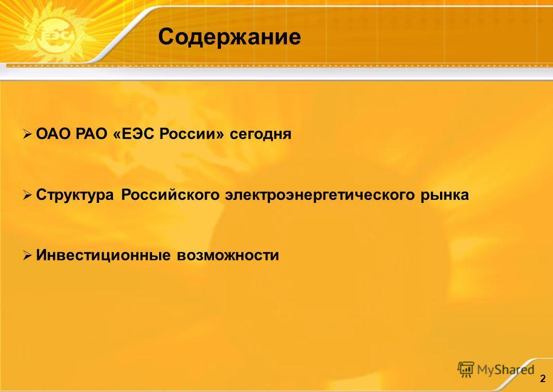 2 Содержание ОАО РАО «ЕЭС России» сегодня Структура Российского электроэнергетического рынка Инвестиционные возможности