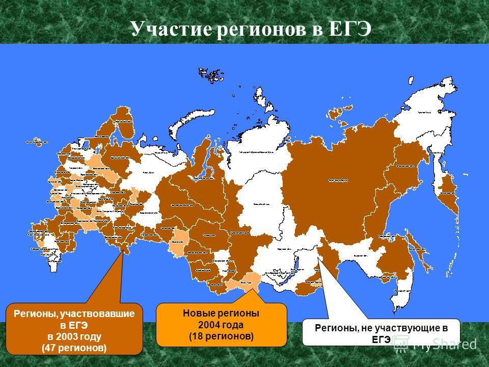 10 Участие регионов в ЕГЭ Регионы, участвовавшие в ЕГЭ в 2003 году (47 регионов) Новые регионы 2004 года (18 регионов) Регионы, не участвующие в ЕГЭ