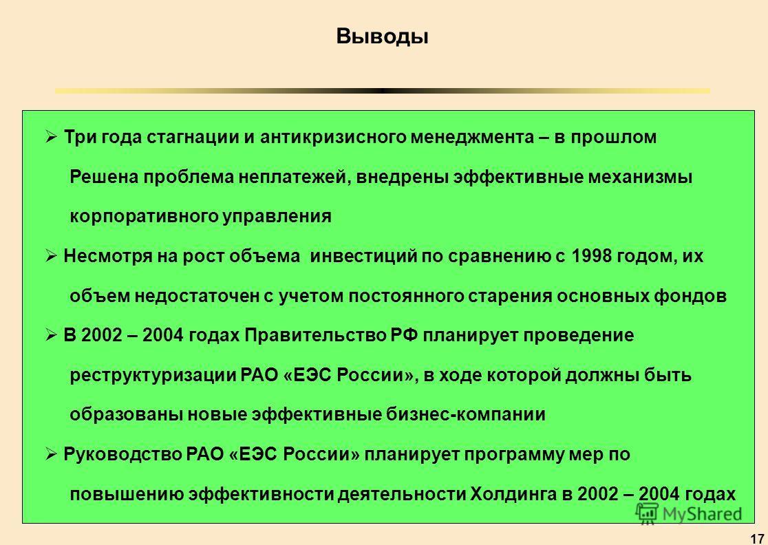 17 Выводы Три года стагнации и антикризисного менеджмента – в прошлом Решена проблема неплатежей, внедрены эффективные механизмы корпоративного управления Несмотря на рост объема инвестиций по сравнению с 1998 годом, их объем недостаточен с учетом по