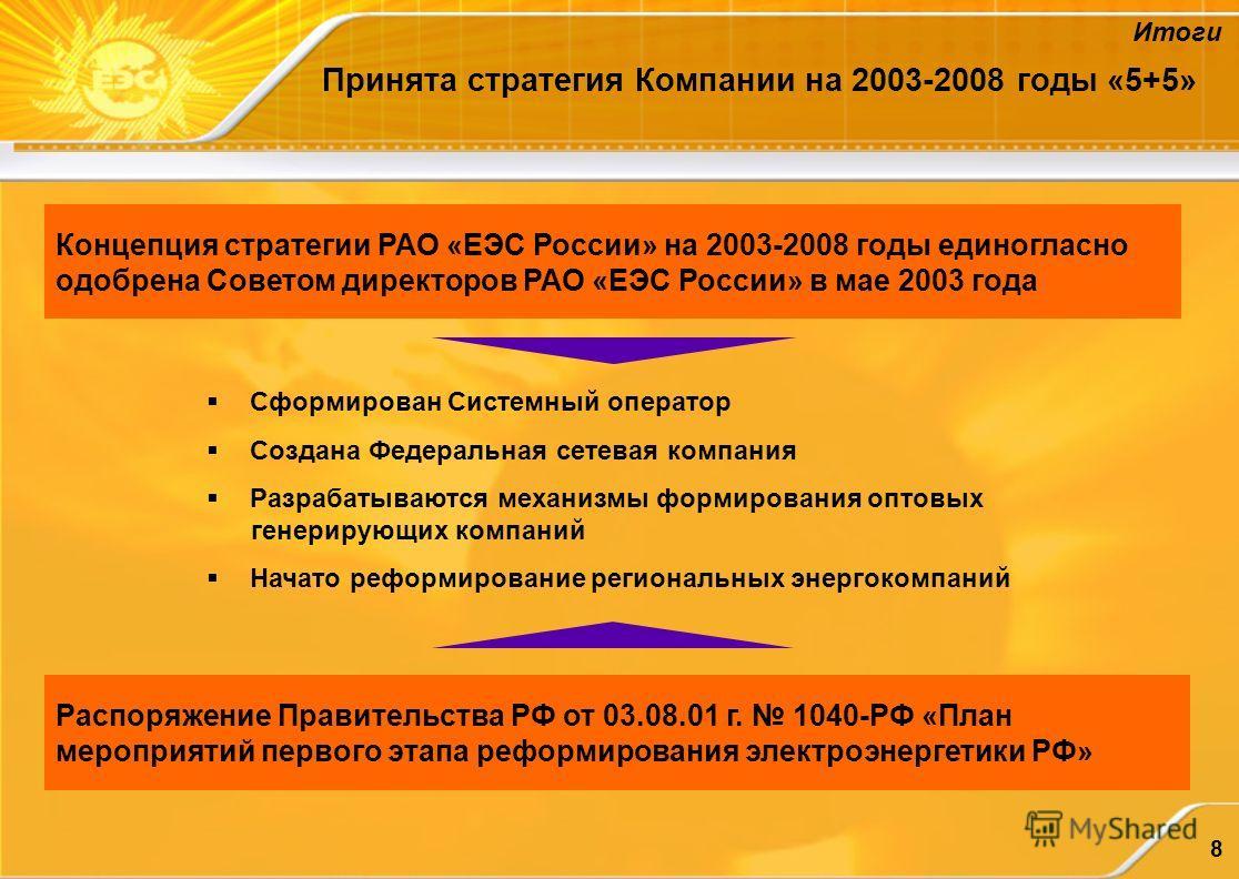 8 Принята стратегия Компании на 2003-2008 годы «5+5» Концепция стратегии РАО «ЕЭС России» на 2003-2008 годы единогласно одобрена Советом директоров РАО «ЕЭС России» в мае 2003 года Сформирован Системный оператор Создана Федеральная сетевая компания Р