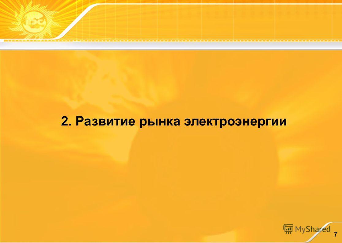 7 2. Развитие рынка электроэнергии