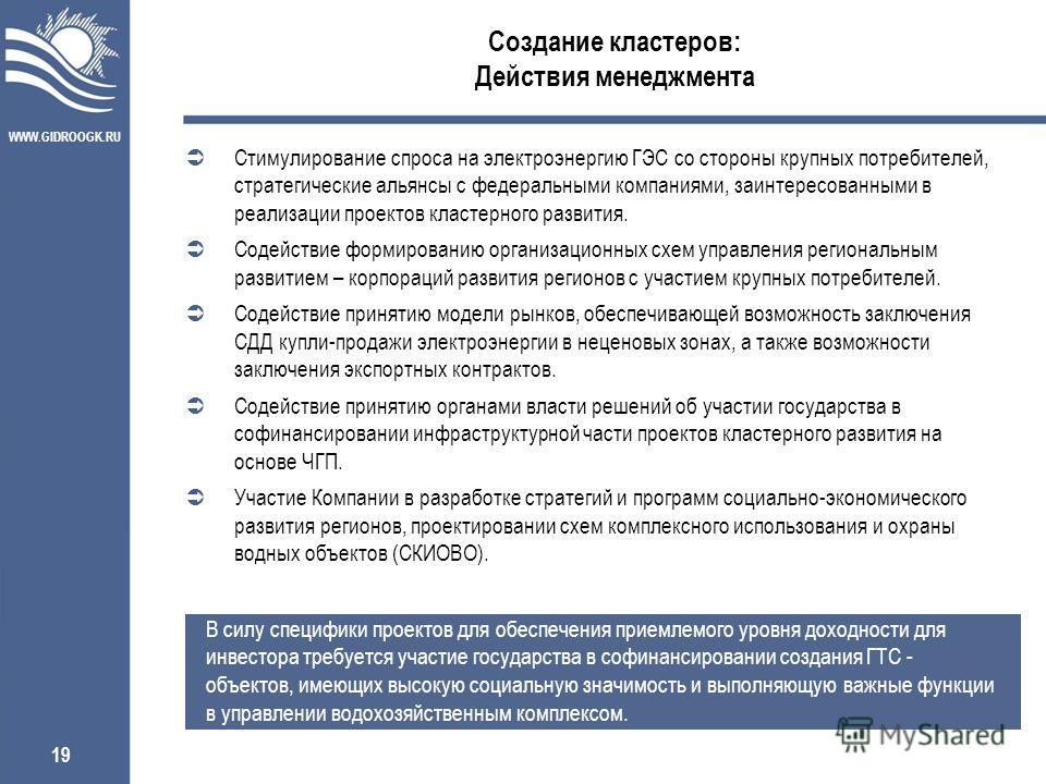 WWW.GIDROOGK.RU 19 Создание кластеров: Действия менеджмента В силу специфики проектов для обеспечения приемлемого уровня доходности для инвестора требуется участие государства в софинансировании создания ГТС - объектов, имеющих высокую социальную зна