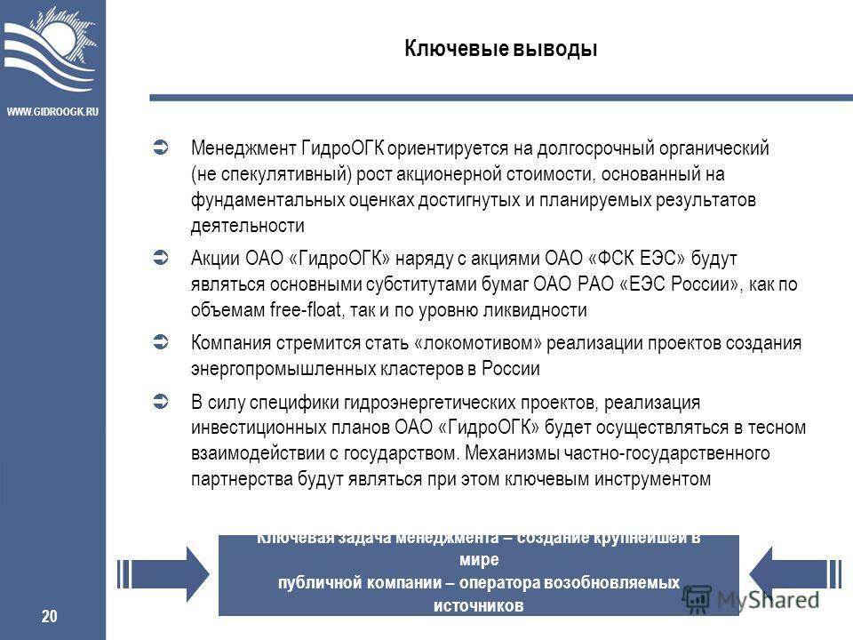 WWW.GIDROOGK.RU 20 Ключевые выводы Ключевая задача менеджмента – создание крупнейшей в мире публичной компании – оператора возобновляемых источников Менеджмент ГидроОГК ориентируется на долгосрочный органический (не спекулятивный) рост акционерной ст
