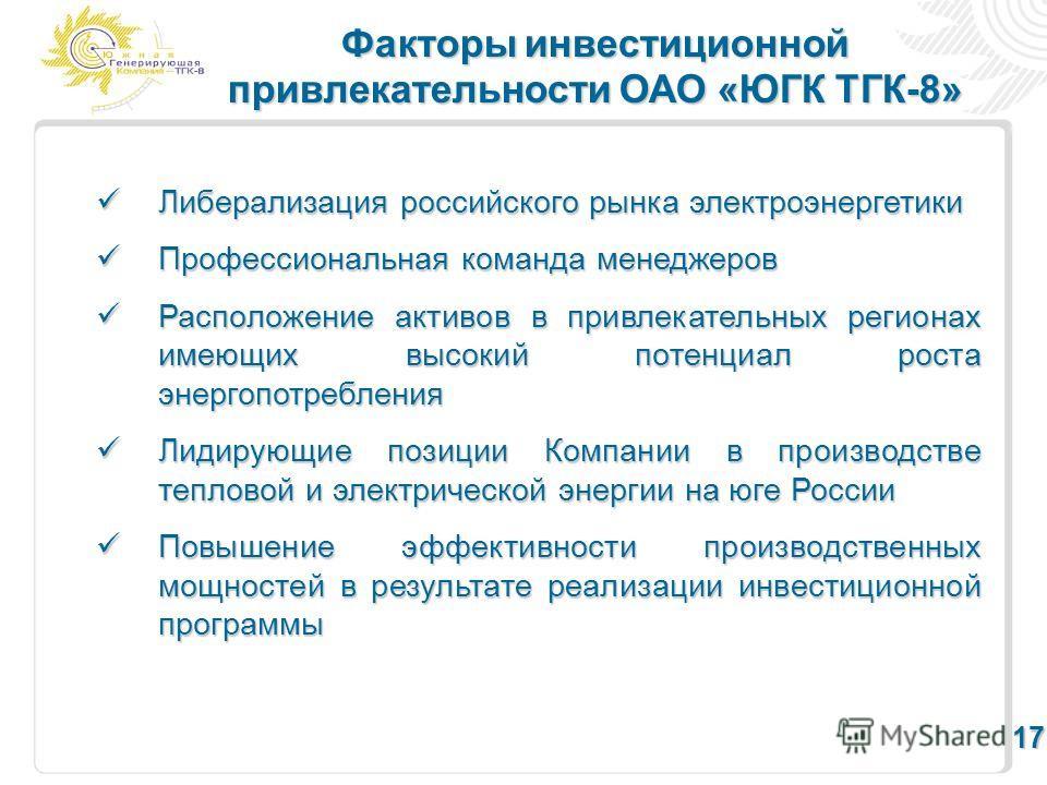 Факторы инвестиционной привлекательности ОАО «ЮГК ТГК-8» 17 Либерализация российского рынка электроэнергетики Либерализация российского рынка электроэнергетики Профессиональная команда менеджеров Профессиональная команда менеджеров Расположение актив