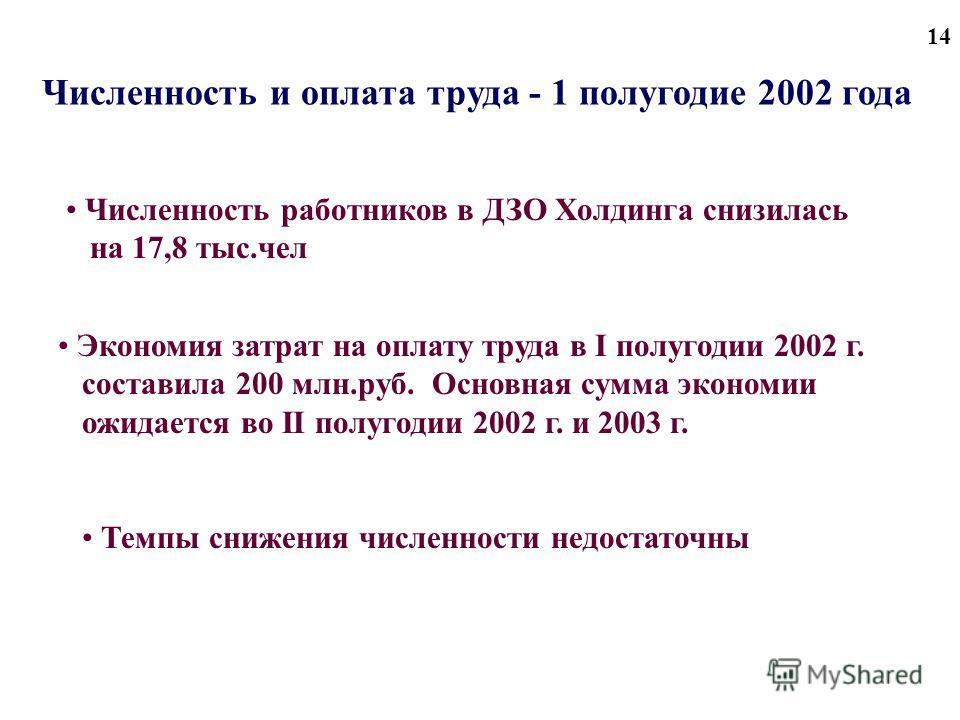 14 Численность и оплата труда - 1 полугодие 2002 года Численность работников в ДЗО Холдинга снизилась на 17,8 тыс.чел Экономия затрат на оплату труда в I полугодии 2002 г. составила 200 млн.руб. Основная сумма экономии ожидается во II полугодии 2002