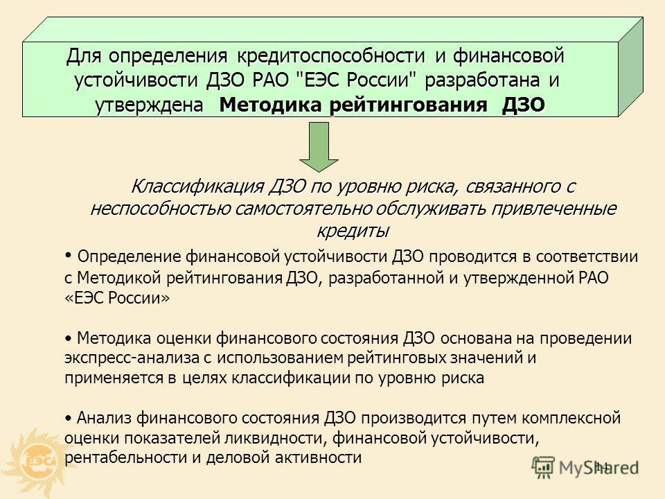 13 Кредитный рейтинг РАО «ЕЭС России» Позитивные факторы Доминирующая позиция на российском рынкеэлектроэнергетики Стратегическая значимость для государства Низкий уровень долговой нагрузки Улучшающееся финансовое положение Негативные факторы Неопред
