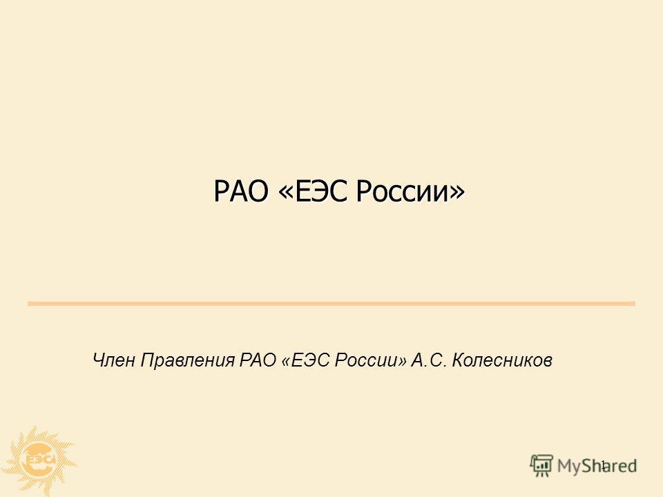 1 РАО «ЕЭС России» Член Правления РАО «ЕЭС России» А.С. Колесников