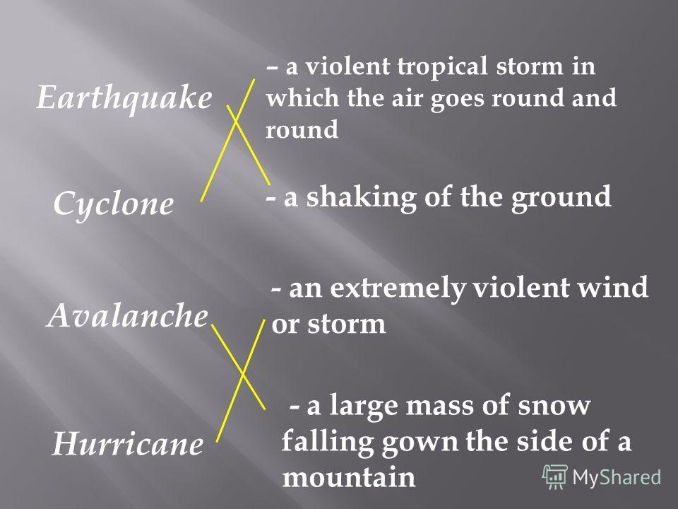 Earthquake Cyclone Avalanche Hurricane – a violent tropical storm in which the air goes round and round - a shaking of the ground - an extremely violent wind or storm - a large mass of snow falling gown the side of a mountain