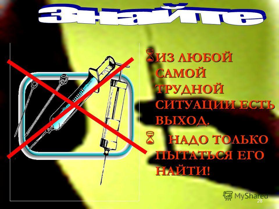Ответы 1. б, в, д. 1. б, в, д. 2. внутривенно 2. внутривенно 3. а, г, д. 3. а, г, д. 4. клей, растворители, эфир, аэрозоли… 4. клей, растворители, эфир, аэрозоли… 10 б. – оценка «5» 9 б. – оценка «4» 8 б. – оценка «3» 7 б. – оценка «2» 27