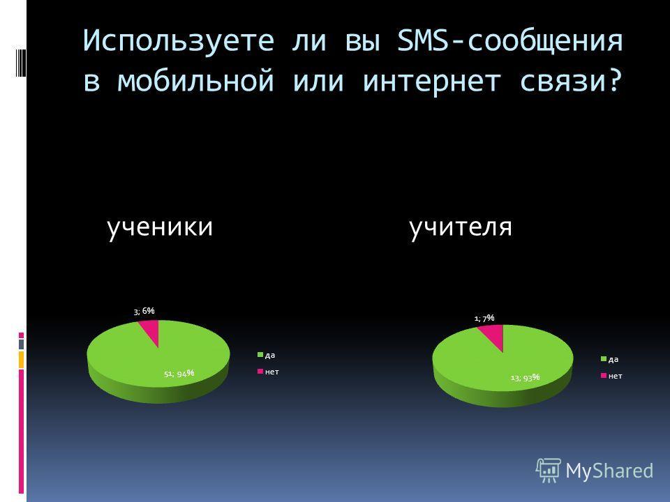 Используете ли вы SMS-сообщения в мобильной или интернет связи? ученики учителя