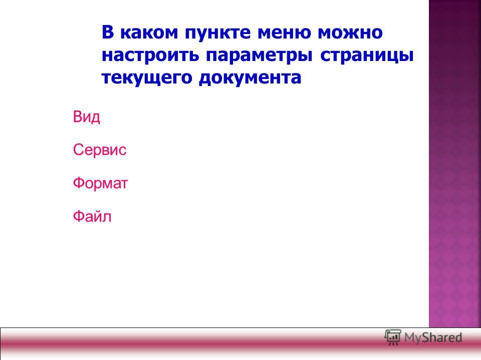 Вид Сервис Формат Файл В каком пункте меню можно настроить параметры страницы текущего документа