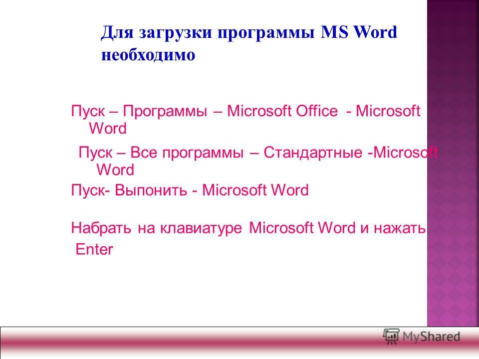 Пуск – Программы – Microsoft Office - Microsoft Word Пуск- Выпонить - Microsoft Word Набрать на клавиатуре Microsoft Word и нажать Enter Для загрузки программы MS Word необходимо Пуск – Все программы – Стандартные -Microsoft Word
