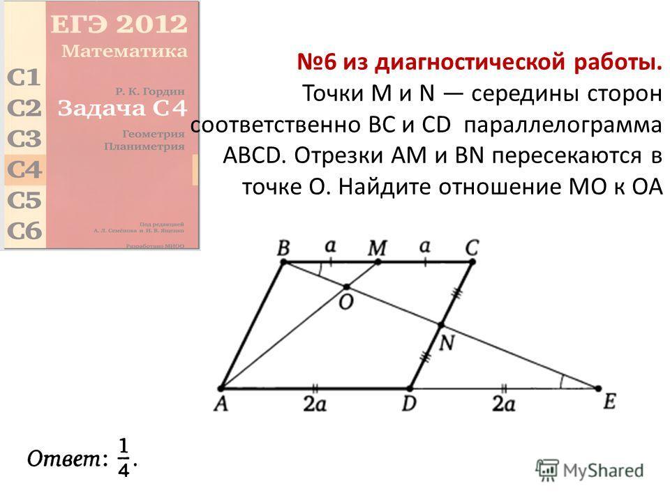 6 из диагностической работы. Точки М и N середины сторон соответственно ВС и CD параллелограмма ABCD. Отрезки AM и BN пересекаются в точке О. Найдите отношение МО к ОА