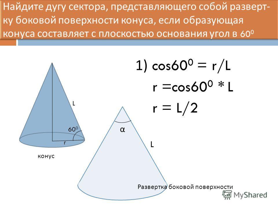 1) cos60 0 = r/L r =cos60 0 * L r = L/2 60 0 r L α L конус Развертка боковой поверхности