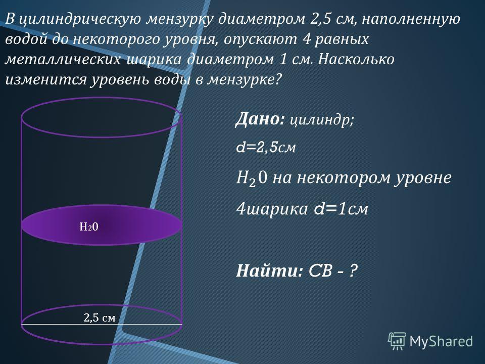 В цилиндрическую мензурку диаметром 2,5 см, наполненную водой до некоторого уровня, опускают 4 равных металлических шарика диаметром 1 см. Насколько изменится уровень воды в мензурке ? 2,5 см Н20Н20