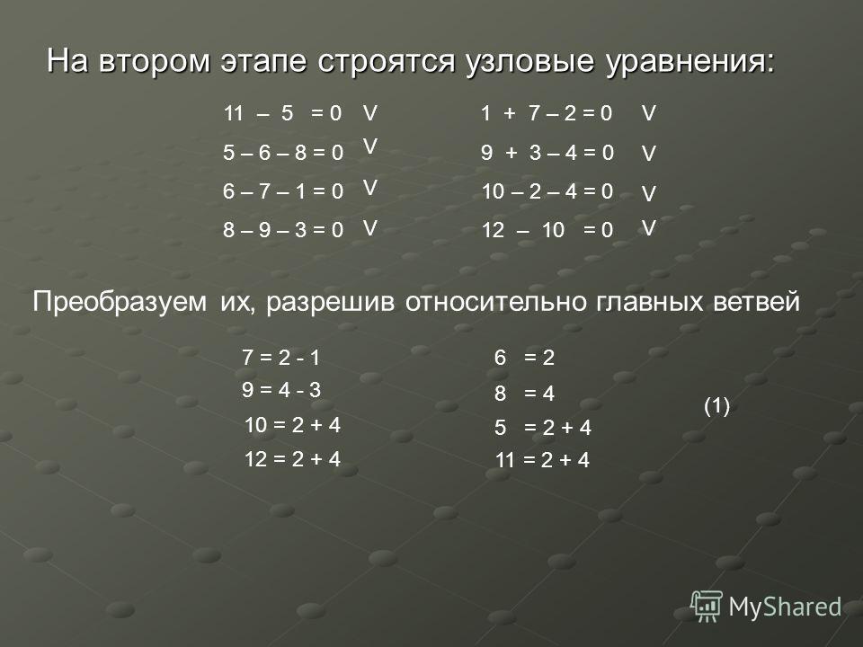 На втором этапе строятся узловые уравнения: 11 – 5 = 0 1 + 7 – 2 = 0 5 – 6 – 8 = 0 9 + 3 – 4 = 0 6 – 7 – 1 = 0 10 – 2 – 4 = 0 8 – 9 – 3 = 0 12 – 10 = 0 7 = 2 - 1 Преобразуем их, разрешив относительно главных ветвей V 9 = 4 - 3 V V 10 = 2 + 4 V 12 = 2