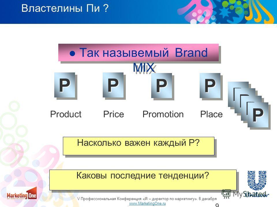 9 Так назывемый Brand MIX PPPP PPPP ProductPricePromotionPlace Насколько важен каждый P? Каковы последние тенденции? Властелины Пи ?PP PP PP PP V Профессиональная Конференция «Я – директор по маркетингу». 8 декабря www.MarketingOne.ru