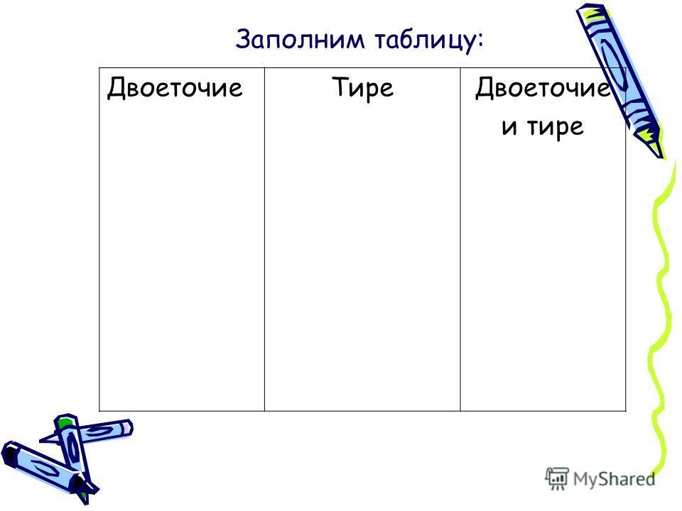 ДвоеточиеТиреДвоеточие и тире Заполним таблицу: