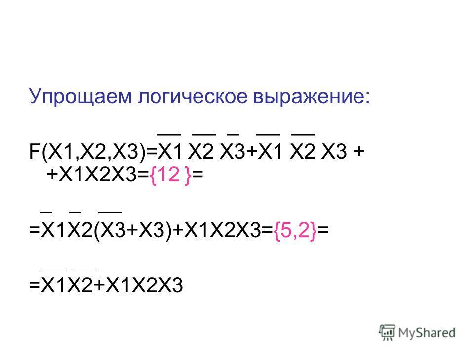 Упрощаем логическое выражение: __ __ _ __ __ F(X1,X2,X3)=Х1 Х2 Х3+Х1 Х2 Х3 + +Х1Х2Х3={12 }= _ _ __ =X1X2(X3+X3)+X1X2X3={5,2}= =X1X2+X1X2X3