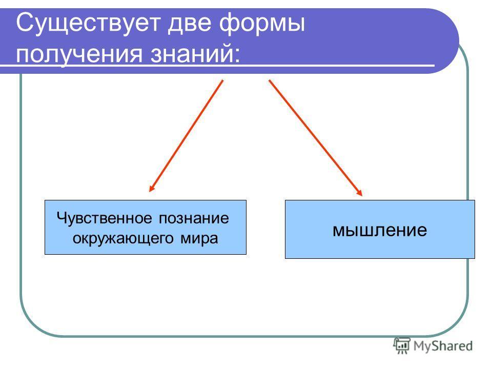 Существует две формы получения знаний: Чувственное познание окружающего мира мышление