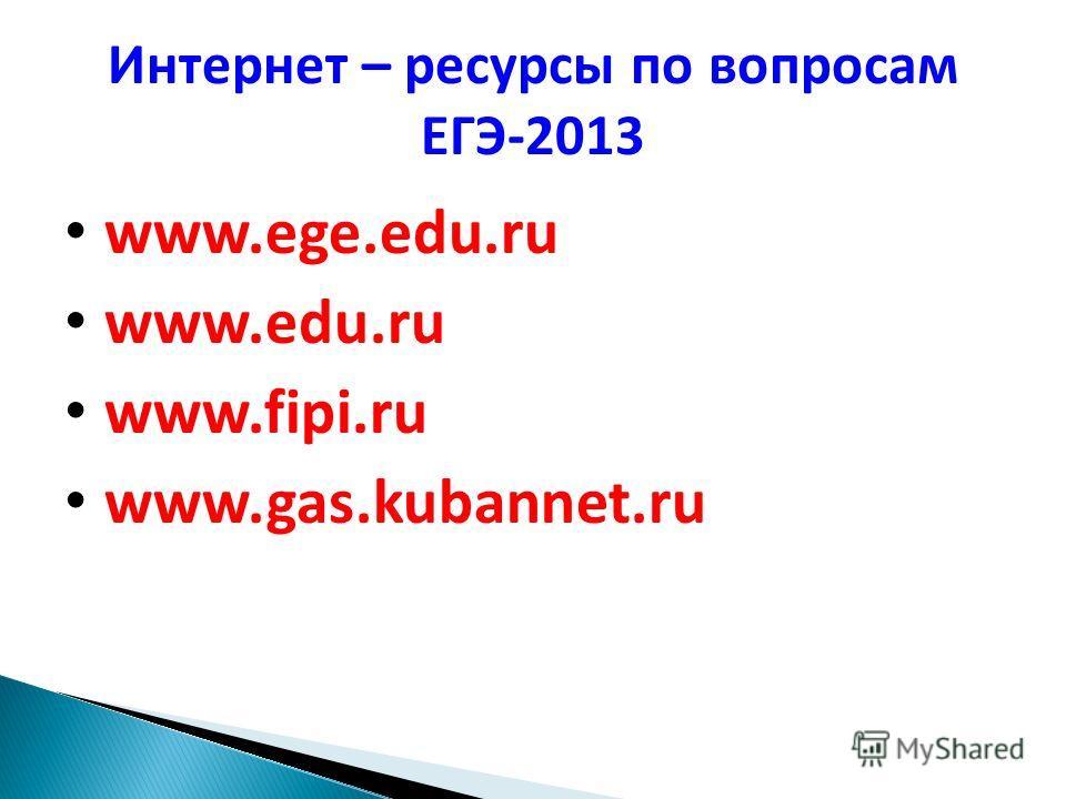 Интернет – ресурсы по вопросам ЕГЭ-2013 www.ege.edu.ru www.edu.ru www.fipi.ru www.gas.kubannet.ru