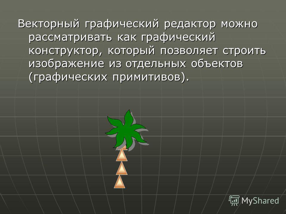 Векторный графический редактор можно рассматривать как графический конструктор, который позволяет строить изображение из отдельных объектов (графических примитивов).
