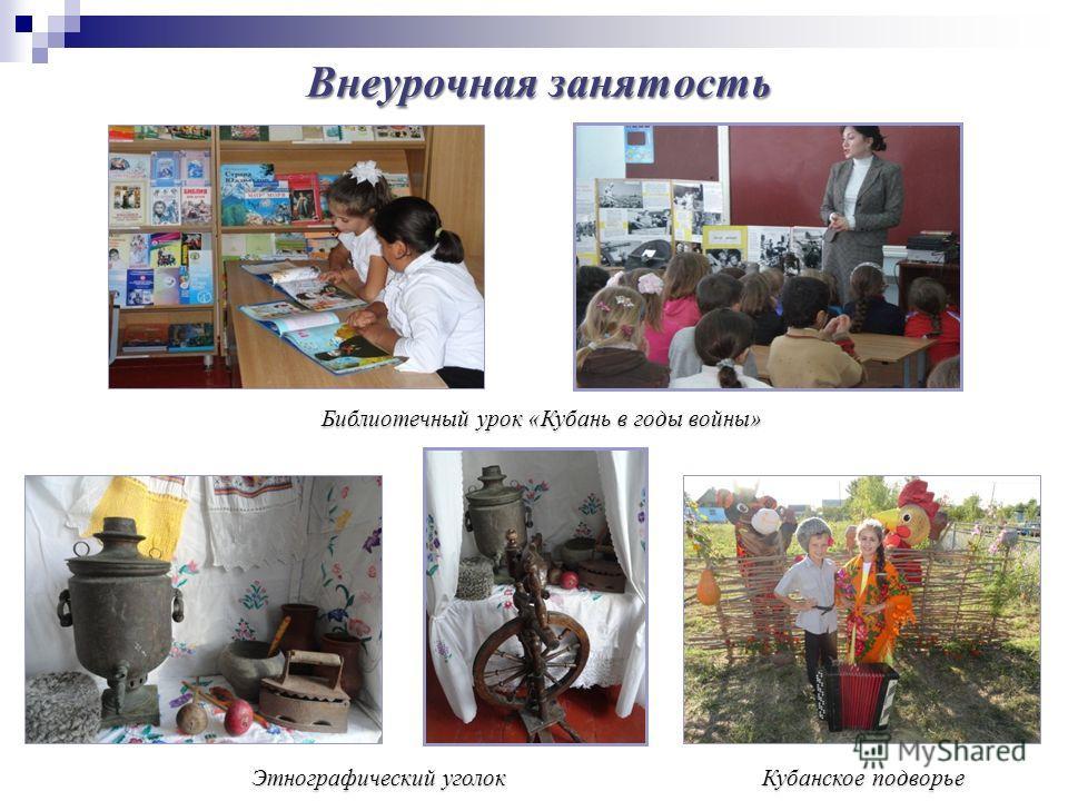 Этнографический уголок Библиотечный урок «Кубань в годы войны» Кубанское подворье Внеурочная занятость
