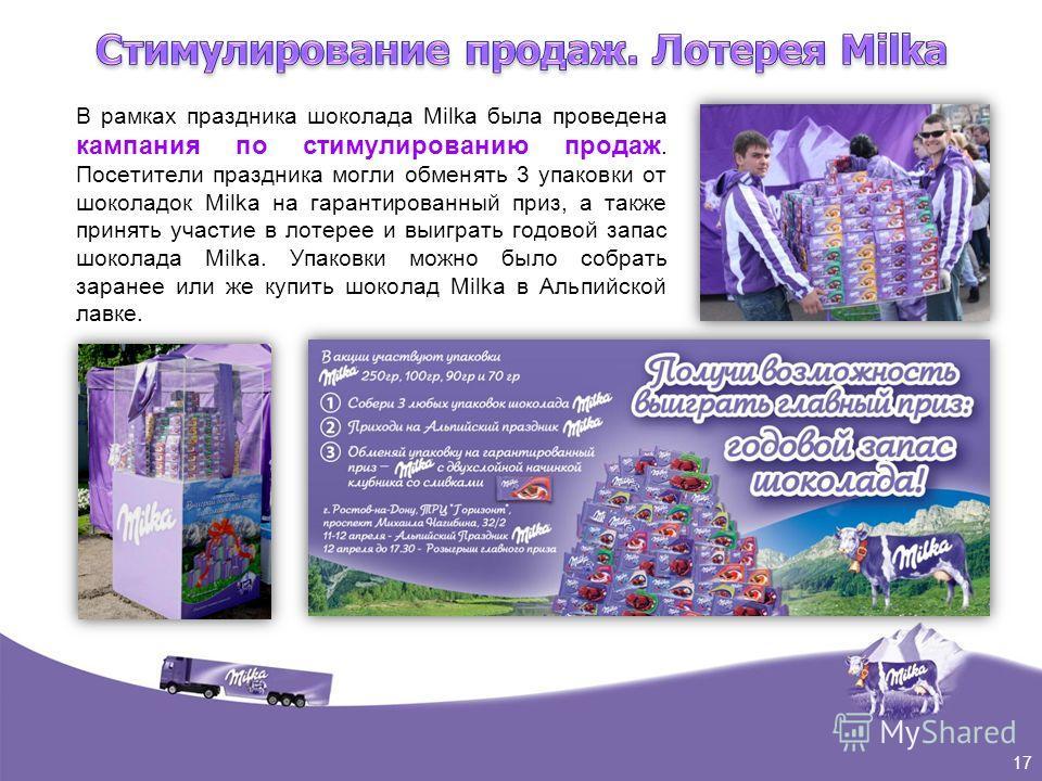 В рамках праздника шоколада Milka была проведена кампания по стимулированию продаж. Посетители праздника могли обменять 3 упаковки от шоколадок Milka на гарантированный приз, а также принять участие в лотерее и выиграть годовой запас шоколада Milka.