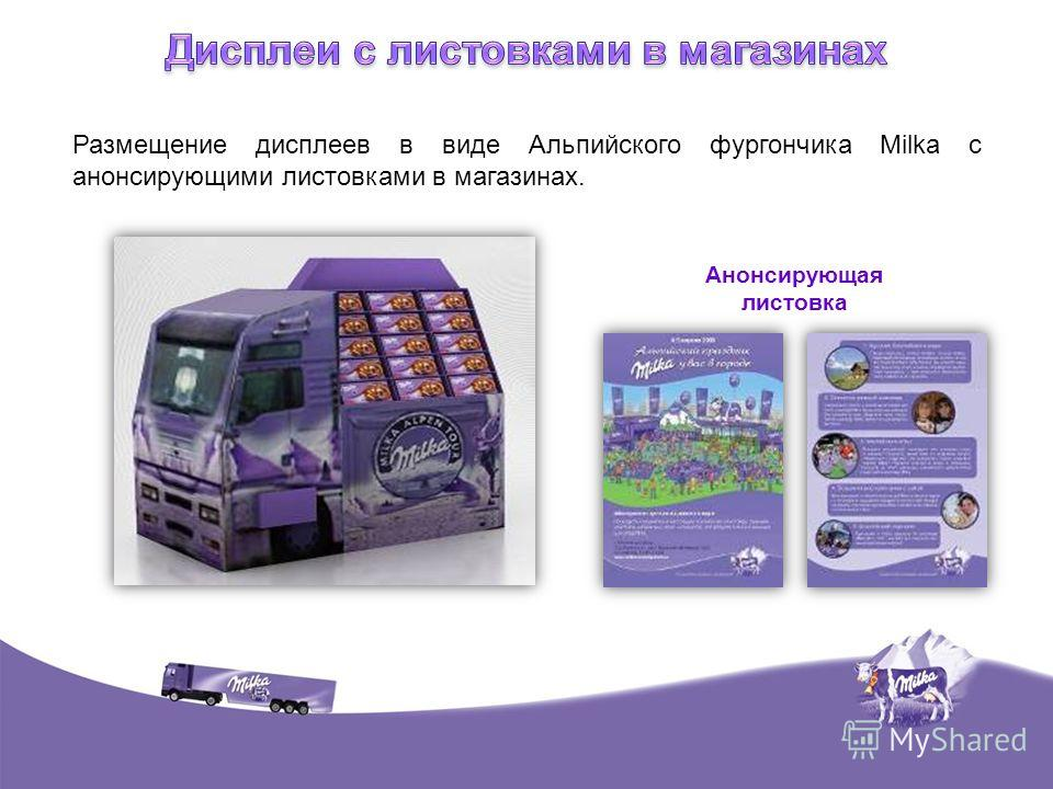 Размещение дисплеев в виде Альпийского фургончика Milka c анонсирующими листовками в магазинах. Анонсирующая листовка