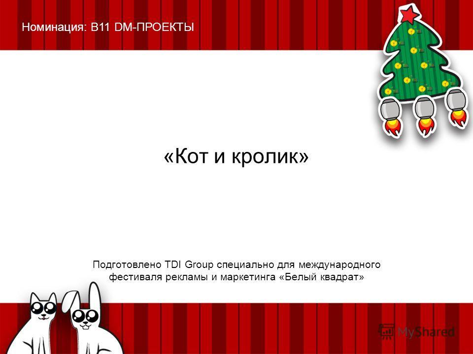 «Кот и кролик» Подготовлено TDI Group специально для международного фестиваля рекламы и маркетинга «Белый квадрат» Номинация: B11 DM-ПРОЕКТЫ
