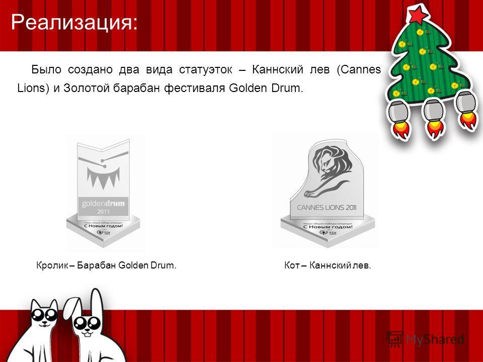 Реализация: Было создано два вида статуэток – Каннский лев (Cannes Lions) и Золотой барабан фестиваля Golden Drum. Кролик – Барабан Golden Drum.Кот – Каннский лев.