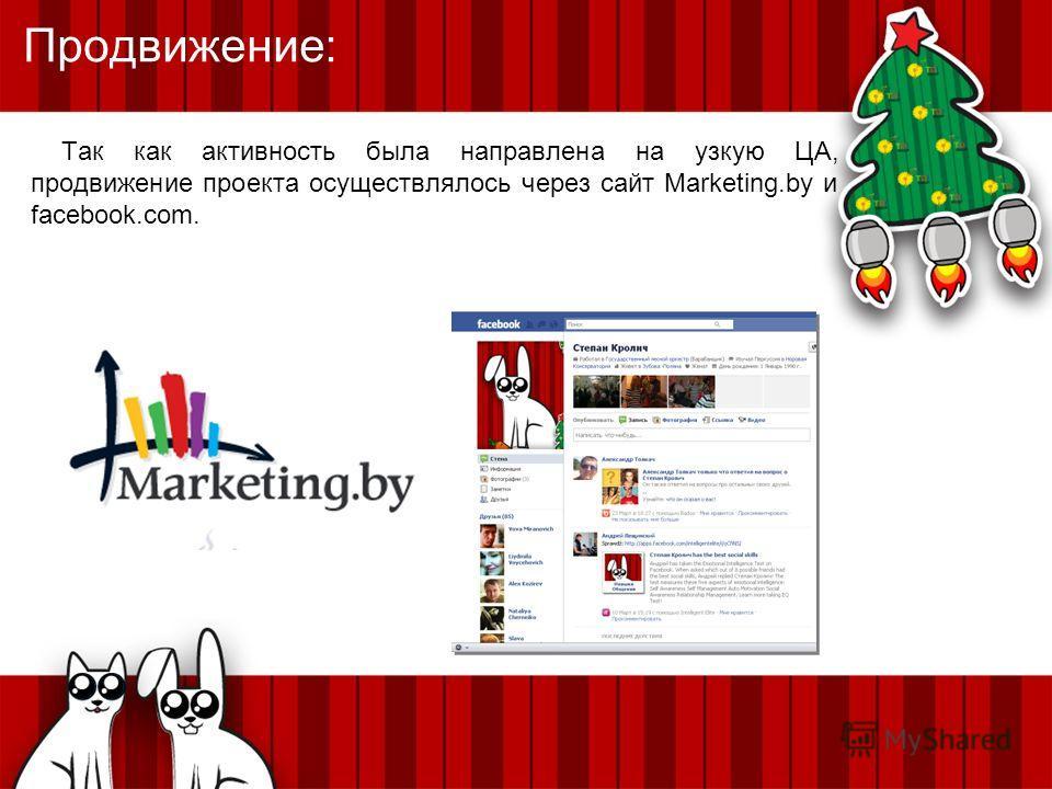 Продвижение: Так как активность была направлена на узкую ЦА, продвижение проекта осуществлялось через сайт Marketing.by и facebook.com.