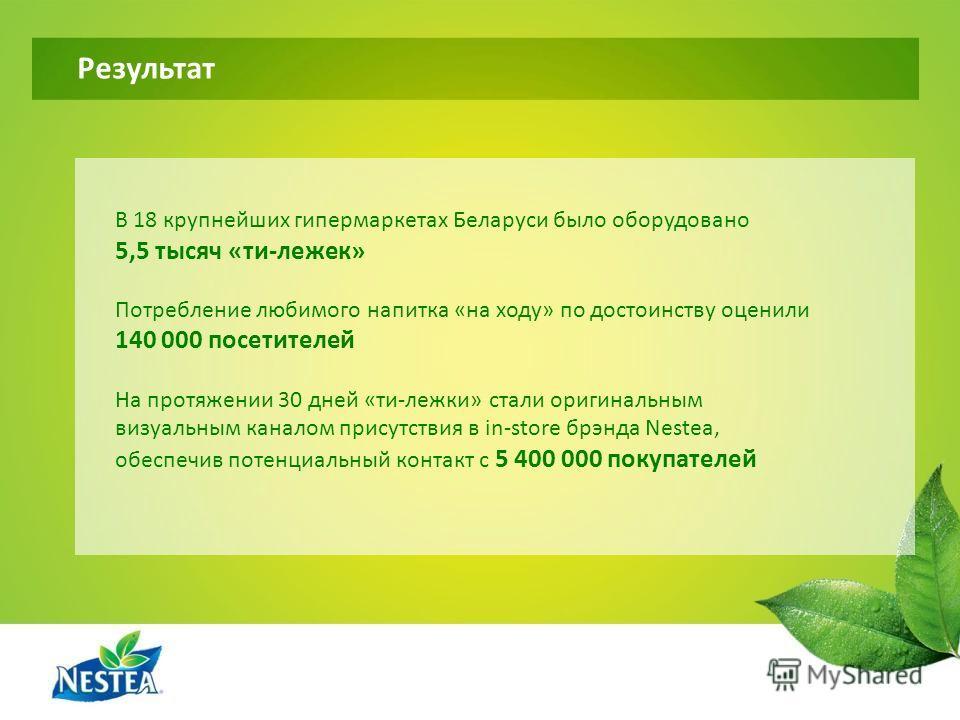 Результат В 18 крупнейших гипермаркетах Беларуси было оборудовано 5,5 тысяч «ти-лежек» Потребление любимого напитка «на ходу» по достоинству оценили 140 000 посетителей На протяжении 30 дней «ти-лежки» стали оригинальным визуальным каналом присутстви