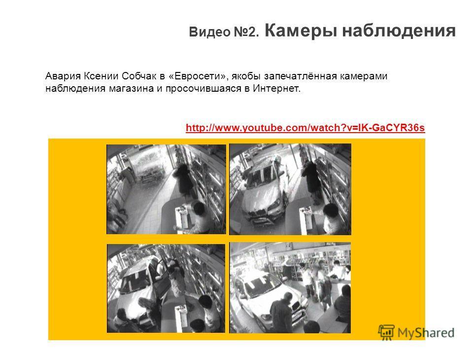Видео 2. Камеры наблюдения Авария Ксении Собчак в «Евросети», якобы запечатлённая камерами наблюдения магазина и просочившаяся в Интернет. http://www.youtube.com/watch?v=lK-GaCYR36s