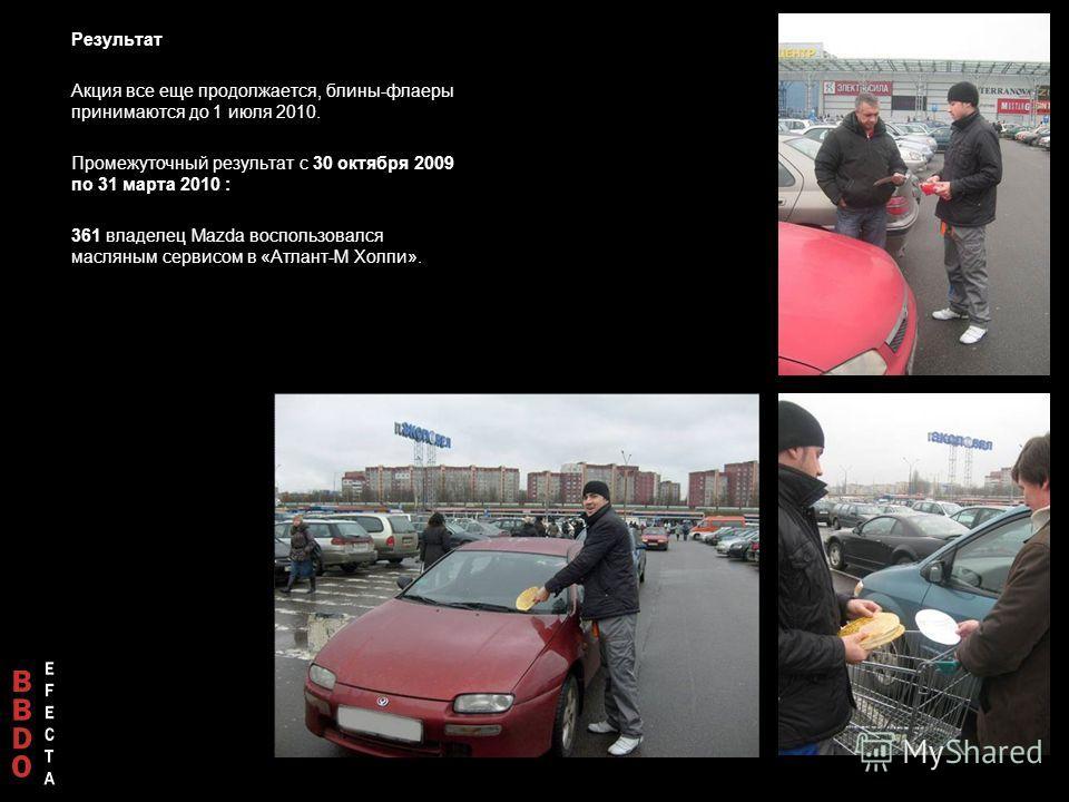 Результат Акция все еще продолжается, блины-флаеры принимаются до 1 июля 2010. Промежуточный результат с 30 октября 2009 по 31 марта 2010 : 361 владелец Mazda воспользовался масляным сервисом в «Атлант-М Холпи».
