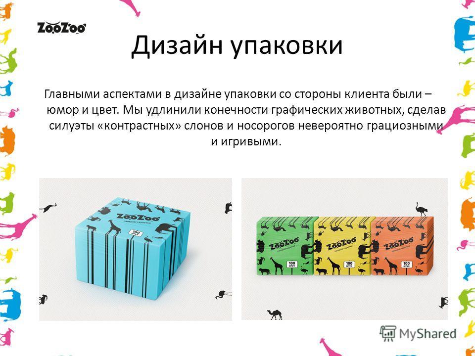 Дизайн упаковки Главными аспектами в дизайне упаковки со стороны клиента были – юмор и цвет. Мы удлинили конечности графических животных, сделав силуэты «контрастных» слонов и носорогов невероятно грациозными и игривыми.
