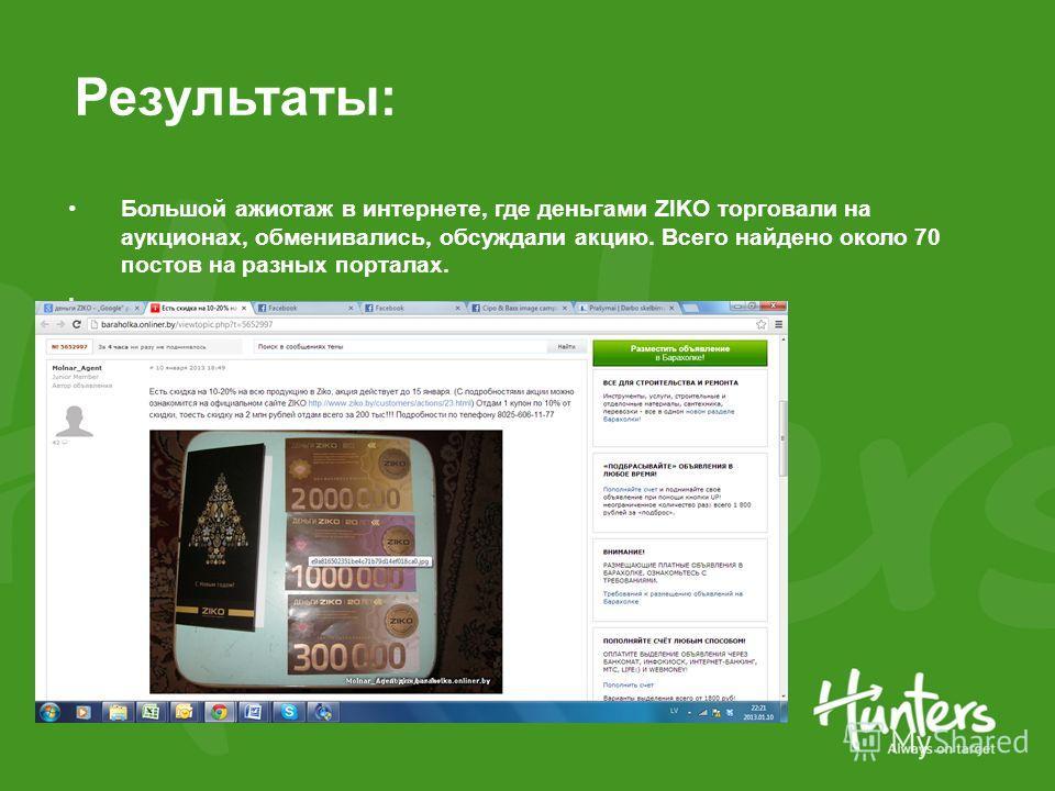 Результаты: Большой ажиотаж в интернете, где деньгами ZIKO торговали на аукционах, обменивались, обсуждали акцию. Всего найдено около 70 постов на разных порталах..