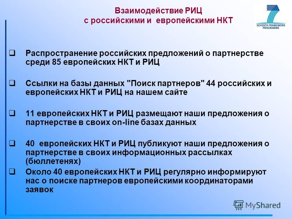 Распространение российских предложений о партнерстве среди 85 европейских НКТ и РИЦ Ссылки на базы данных