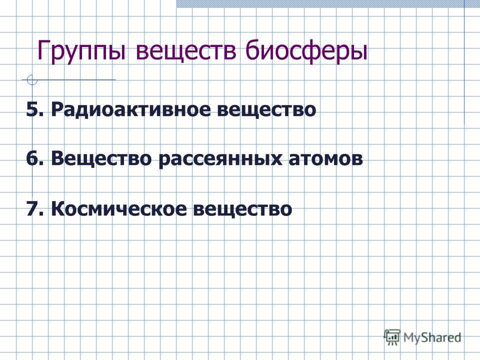 Группы веществ биосферы 5. Радиоактивное вещество 6. Вещество рассеянных атомов 7. Космическое вещество
