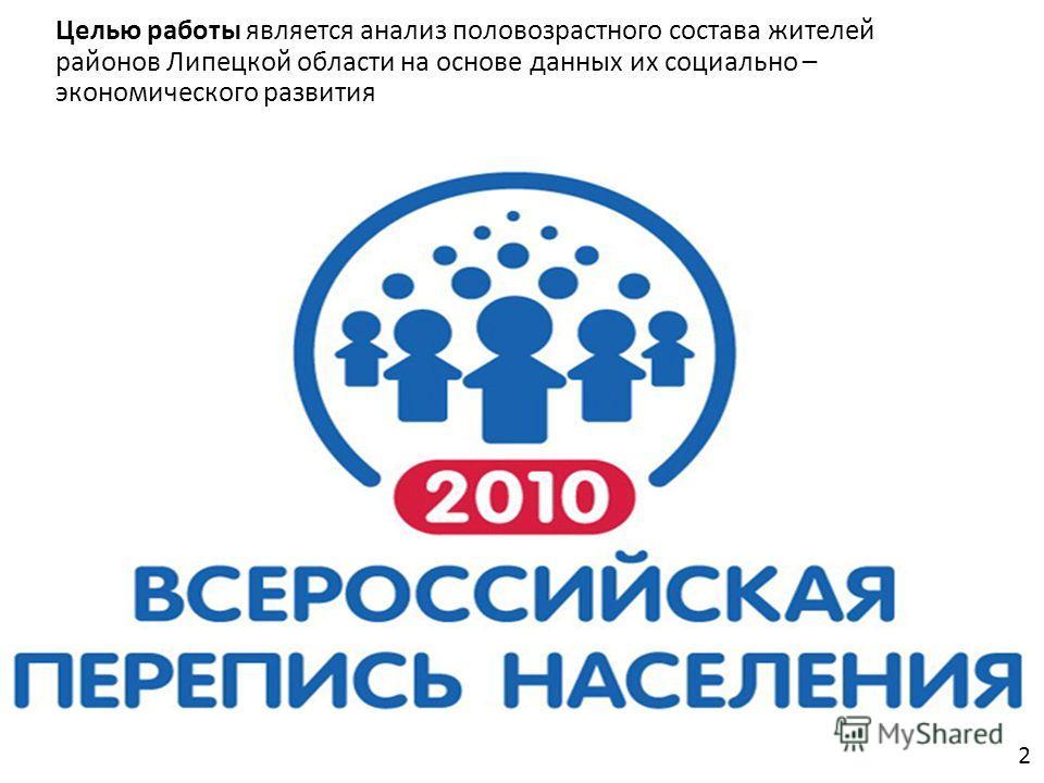 Целью работы является анализ половозрастного состава жителей районов Липецкой области на основе данных их социально – экономического развития 2